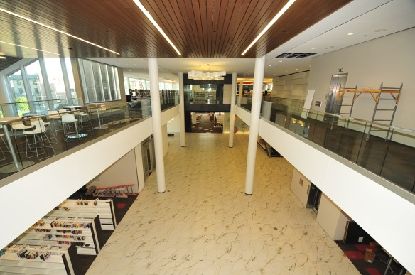 The atrium looks down onto the main Customer Service Commons.