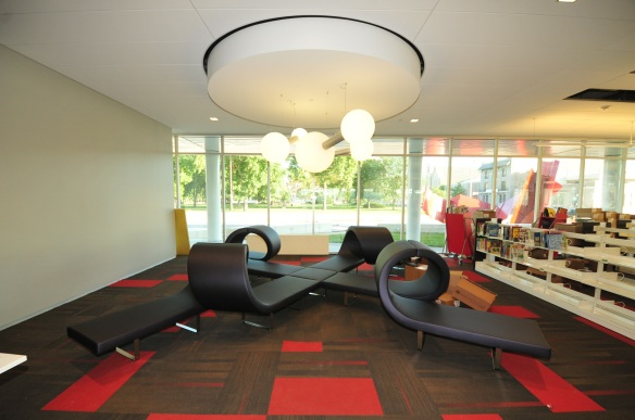 Whimsical furniture in the children's library adds to the fun of the space.