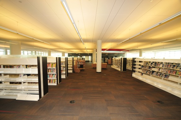 The second floor is home to nonfiction, music and dvds, as well as the technology commons.