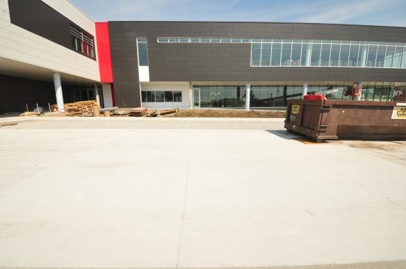 The south parking lot has been poured and is nearly complete.