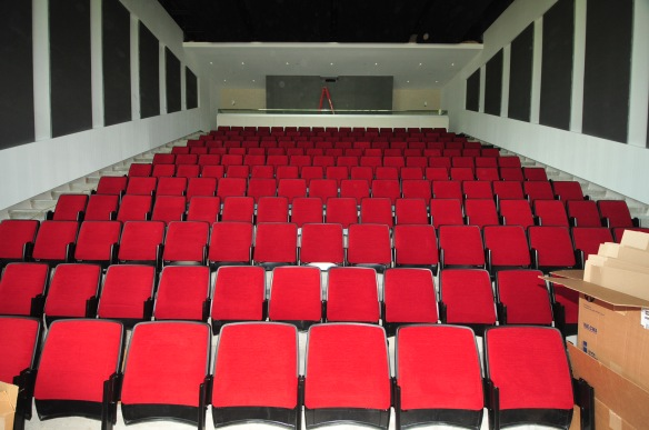 The seats have been installed in the auditorium.