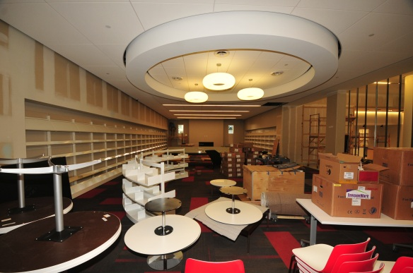 The Union, the new teen library, gets shelving and furniture.